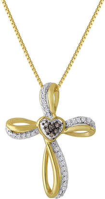 JCPenney FINE JEWELRY 1/10 CT. T.W. White and Champagne Diamond Cross Pendant Necklace