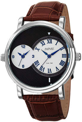 August Steiner Mens Brown Strap Watch-As-8146ssbr