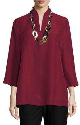 Eileen Fisher 3/4-Sleeve High-Collar Doupioni Silk Blouse, Hibiscus