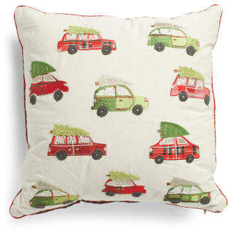 Made In India 20x20 Embroidered Cars Pillow