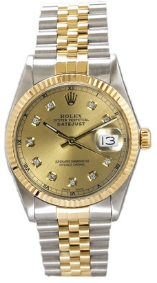 Rolex Datejust Two Tone Fluted Custom Champagne Diamond Dial Mens Watch $10,100 thestylecure.com