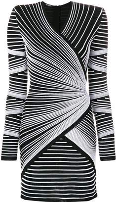 Balmain structured shoulder stitched stripe mini dress