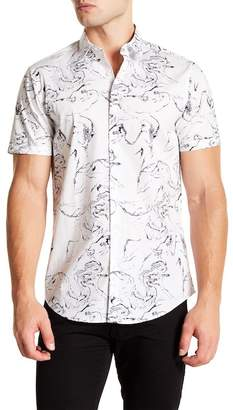 CALIBRATE Short Sleeve White Marble Print Slim Fit Shirt