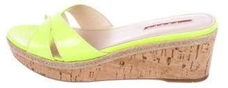 Prada Sport Patent Leather Wedge Slide Sandals