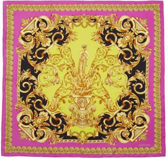 Versace Pink Silk Barocco Print Scarf