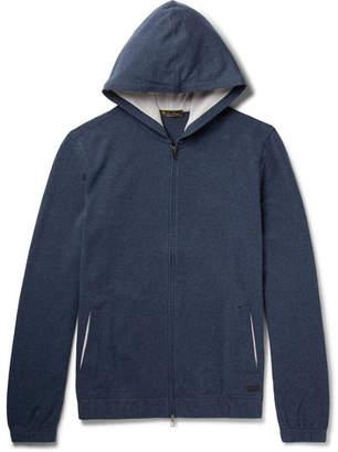Loro Piana Mélange Stretch-Cotton Jersey Zip-Up Hoodie