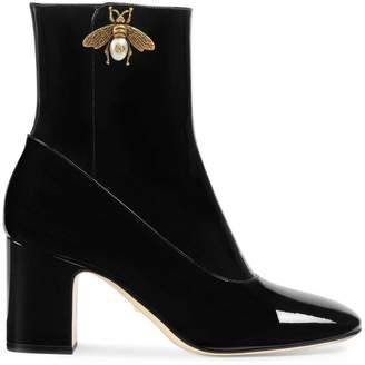Gucci Patent leather ankle boot with bee