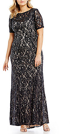 Adrianna PapellAdrianna Papell Plus Sequin Lace Short Sleeve Gown
