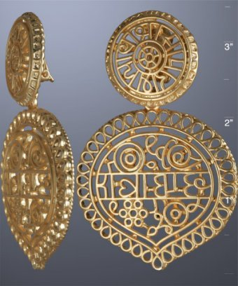 Kenneth Jay Lane gold matte filigree clip-on earrings