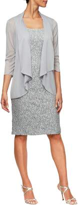 Alex Evenings Sequin Sheath Dress with Jacket