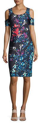 Rachel Roy Printed Scuba Cold Shoulder Dress