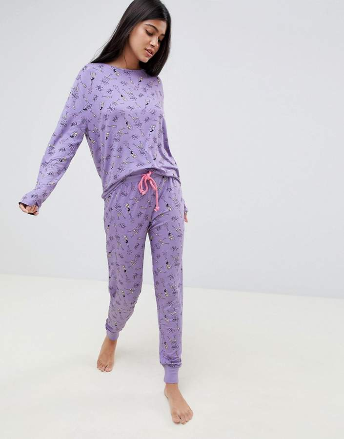 Chelsea Peers NYC bubbles long bridal party pj set