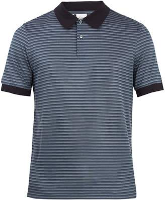 Brioni Striped cotton and silk-blend piqué polo shirt