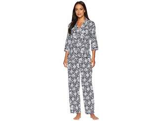 Lauren Ralph Lauren Petite Classic Woven 3/4 Sleeve Pointed Notch Collar Pajama Set