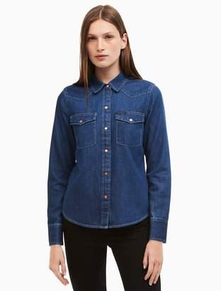 Calvin Klein dark indigo denim western shirt