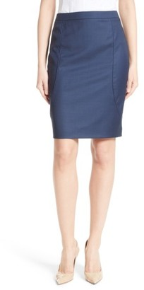Women's Boss Venesa Piped Seam Stretch Wool Pencil Skirt $325 thestylecure.com