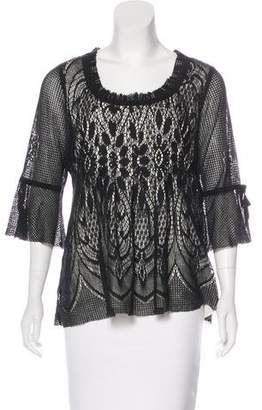 Anna Sui Ruffle-Trimmed Three-Quarter Sleeve Top