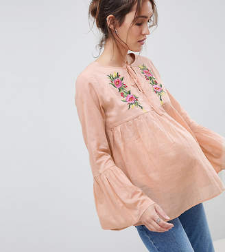 Glamorous Bloom Smock Top With Tie Front And Floral Embroidery