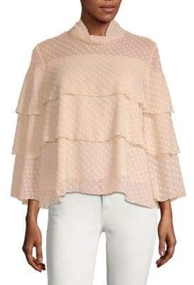 Lumie Tiered Mock-Neck Blouse