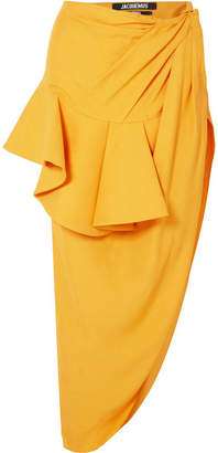 Jacquemus Sol Ruffled Asymmetric Crepe Midi Skirt - Yellow