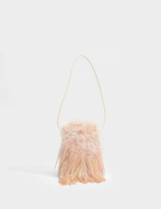 Proenza Schouler Mini Frame Clutch Bag with Strap and Ornamented with Feathers in Light Pink Feathers