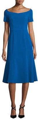 Black Halo Short-Sleeve Stretch Jersey Midi Dress, Shoreline $225 thestylecure.com