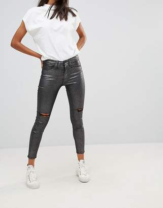 WÅVEN Metallic Silver Skinny Ankle Grazer Jeans