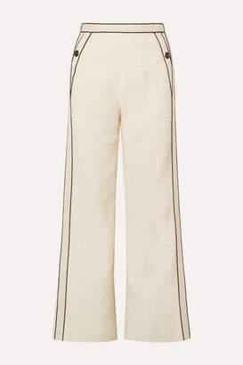 Maje Poppy Piped Cotton-bouclé Pants - Ecru