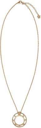 Versace Gold Large Logo Pendant Necklace $375 thestylecure.com