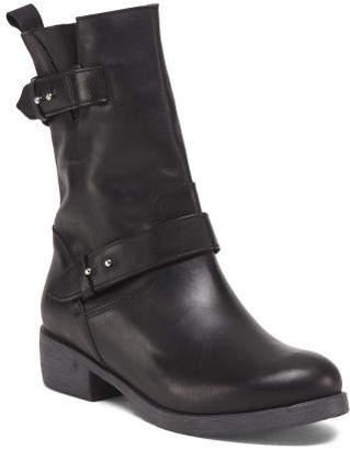 Made In Italy Mid Calf Leather Moto Boots