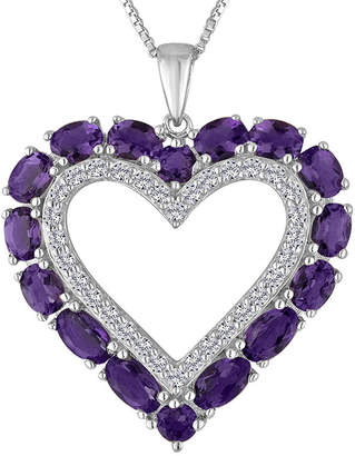 FINE JEWELRY Lab-Created Amethyst & White Sapphire Sterling Silver Heart Pendant Necklace