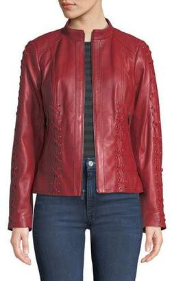 Neiman Marcus Leather Collection Braided-Lace Zip-Front Leather Moto Jacket