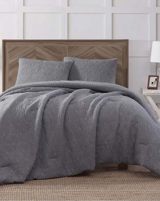 Antik Batik Ocean Washed Cotton Quilted Top Gray Comforter Set