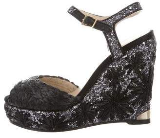 Jimmy Choo Sequin Wedge Sandals