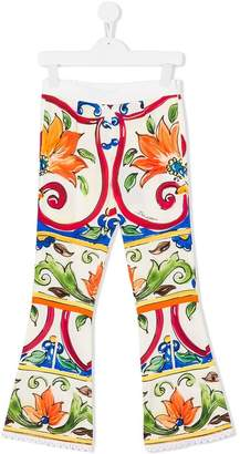 Dolce & Gabbana Majolica print flared trousers