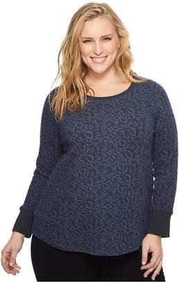 Lucky Brand Plus Size Cheetah Print Sweatshirt Women's Sweatshirt