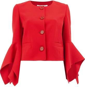 Oscar de la Renta asymmetric flared cuff jacket