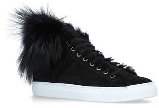 Yves Salomon Fox Trim Hightop Sneakers