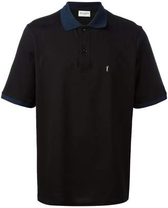Saint Laurent block collar polo shirt