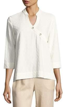 Go Silk Textured Linen-Blend 3/4-Sleeve Top, Plus Size