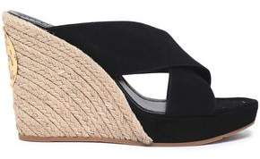Tory Burch Suede Wedge Espadrille Mules