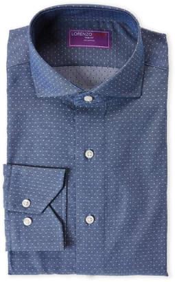 Lorenzo Uomo Navy Chambray Dot Trim Fit Dress Shirt