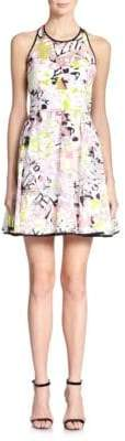 Milly Surrealist Printed Fil Coupe Cutout Dress