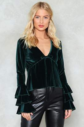 Nasty Gal Let's Get Out of Tier Velvet Top