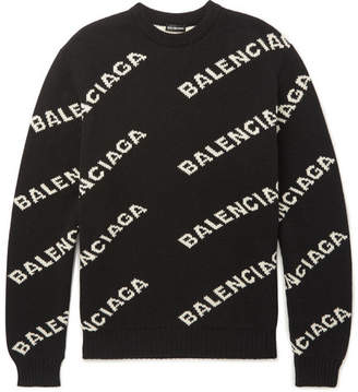 Balenciaga Logo-Intarsia Knitted Sweater - Black
