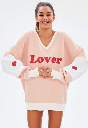 Missguided Pink Graphic Lover Oversized Night Sweatshirt