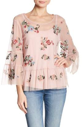 Democracy Mesh Embroidered Ruffle Blouse