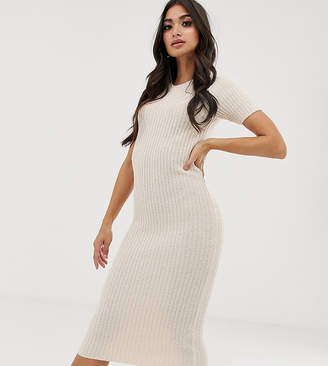 2a4d90c2e85 Asos DESIGN Petite knitted t-shirt midi dress in natural look yarn