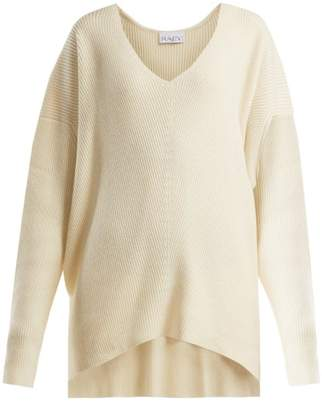 Raey V Neck Ribbed Cashmere Sweater - Womens - Ivory