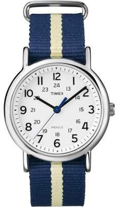 Timex Weekender Watch, Blue/Yellow Stripe Nylon Slip-Thru Strap